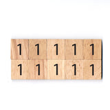 Number 1 Wooden Scrabble tiles