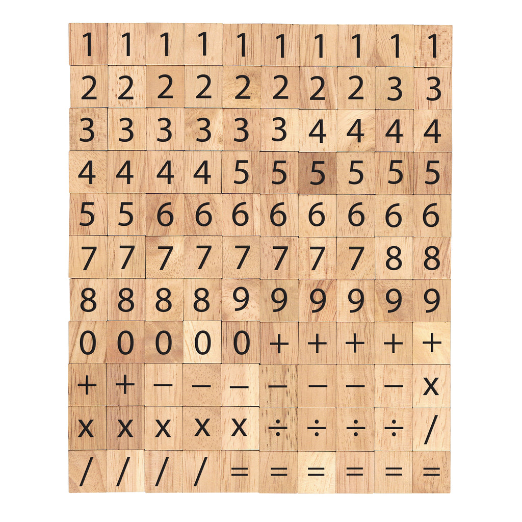 Numbers 0-9 and Math Sign Symbols Wooden Letters Tiles Complete Set of 110 Tiles