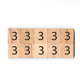 Number 3 Wooden Scrabble tiles