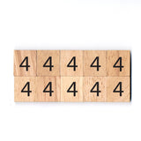 Number 4 Wooden Scrabble Tiles for DIY Crafts and Handicraft Items