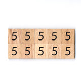 Number 5 Wooden Scrabble tiles