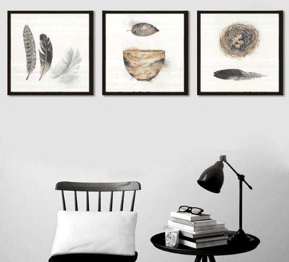 Feather & Nest Framed Wall Art Set of 3 60x70cm