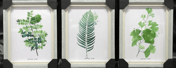 Green Leaves Wall Art With Frame and Glass Set of 3 60x70cm