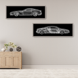 Race Car Wall Art with Frame and Glass 125x45cm