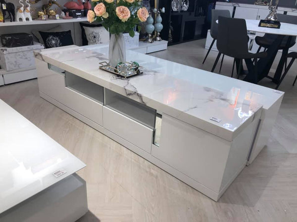 Monaco High Gloss and Marble Top TV Unit - Adore Home Living Perth WA