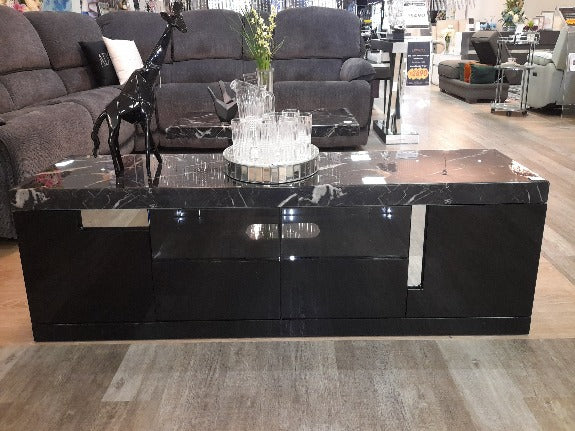 Monaco High Gloss and Marble Top TV Unit