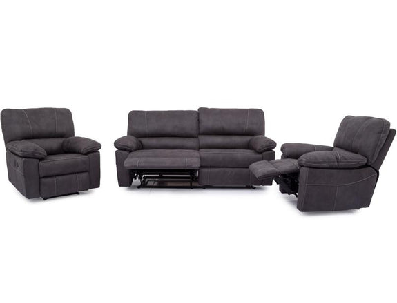 Noah 3PC Fabric Recliner Suite Fabric Lounge Adore Home Living