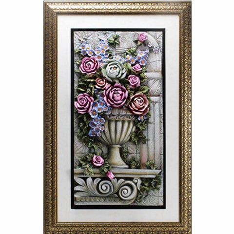 Flowers in Vase 3D Wall Art with Frame 85x135cm