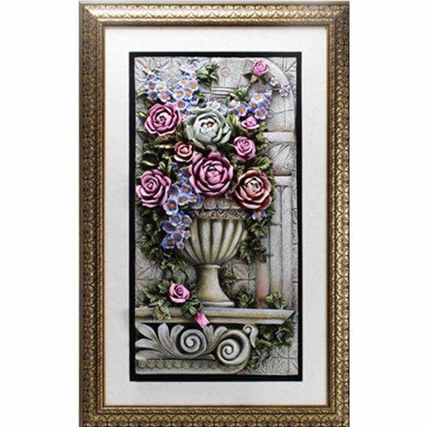Flowers in Vase 3D Wall Art with Frame 85x135cm - Adore Home Living Perth WA