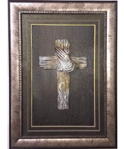 Hand and Cross 3D Wall Art with Frame 50x70cm - Adore Home Living Perth WA
