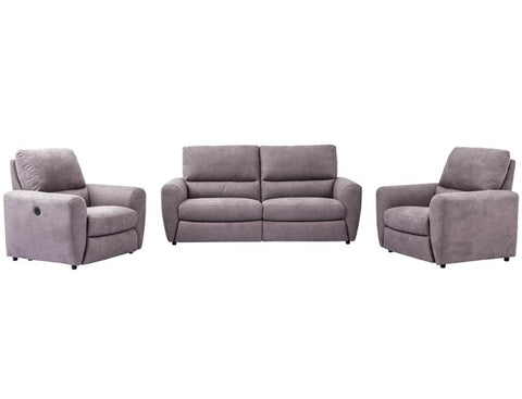 LAYLA 3PC Electric Fabric Recliner Suite