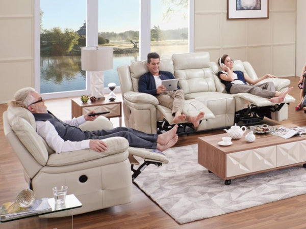 Recliner Lounge ATLANTA 3PC Suite Fabric Lounge Adore Home Living