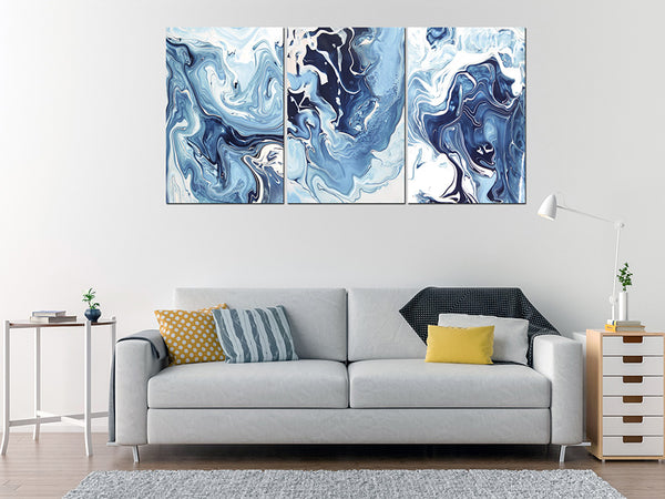 Acrylic Painting SET OF 3: Blue and White Ink