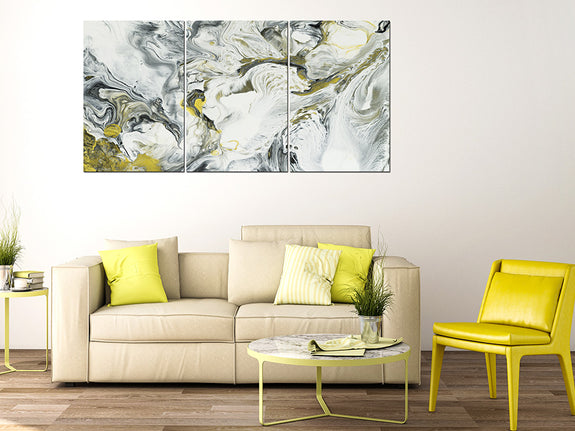 Acrylic Painting SET OF 3: Silver and Gold Ink Adore Home Living Perth Furniture Store