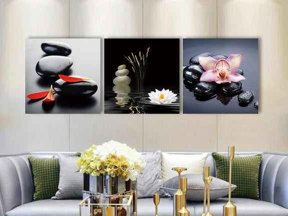 Acrylic Painting Set Of 3 Zen Stones Perth Furniture Store Adore Home Living Homewares & Decors