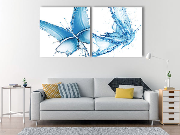 Acrylic Painting set of 2: water butterflies