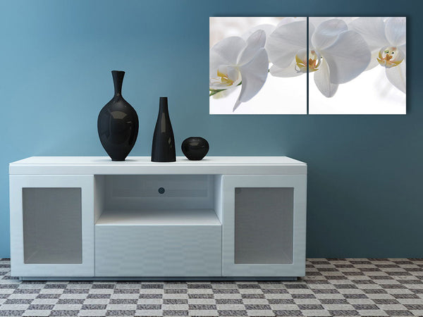 Acrylic Painting set of 2: white flower Adore Home Livning Perth Furniture Store Homewares & Decors