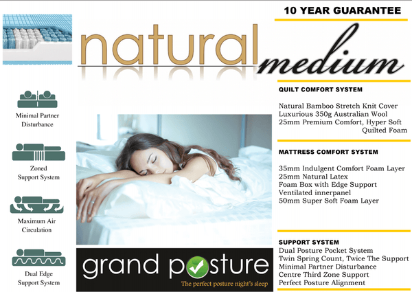 GP Natural Medium Mattress - Adore Home Living Perth WA