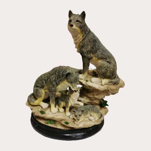 Family of 4 Grey Wolf Decor Ornament Adore Home Living