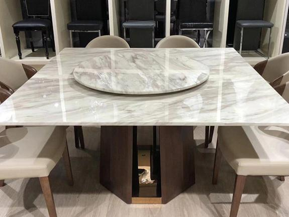 Lorenza Marble Dining Table with Lazy Susan Dining Table Adore Home Living