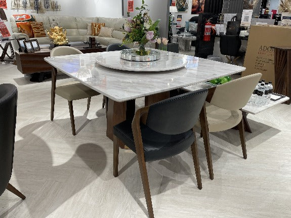 Lorenza Marble Dining Table with Lazy Susan