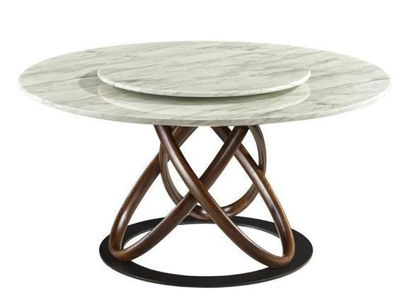 Omega Marble Dining Table with Lazy Susan Dining Table Adore Home Living