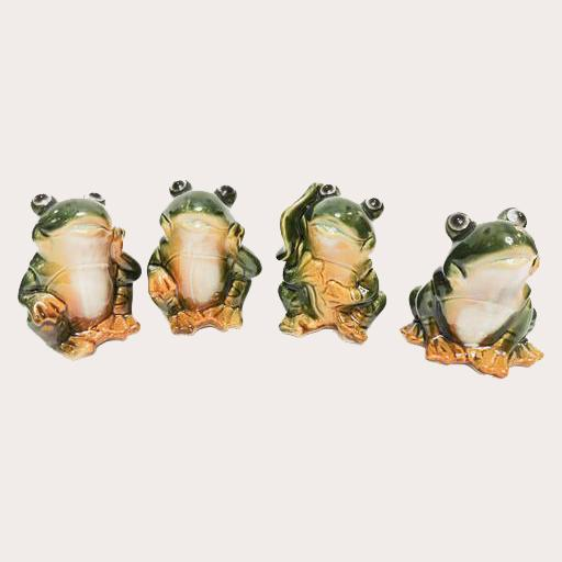 Ceramic Frog Group of 4 Decor Ornament Adore Home Living