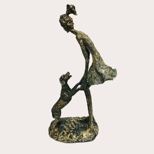 Sculpture Girl with Dog Decor Ornament Adore Home Living