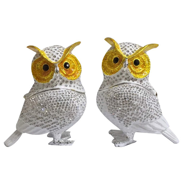 Pair of Diamante Owls Crystal Trinket Box - Adore Home Living Perth WA