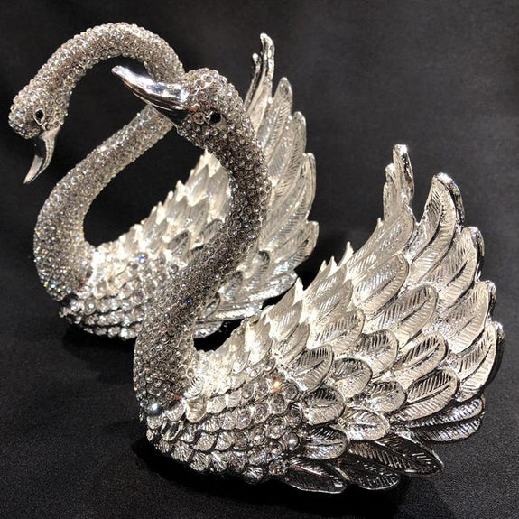 Pair of Swans Diamante Ornament Jewellery Box Adore Home Living