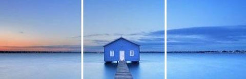 Perth Blue House Sea at Sunset Acrylic Wall Art Set of 3 60x60cm