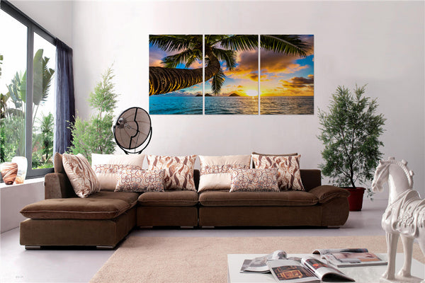 Sunset Beach Coconut Tree Acrylic Wall Art Set of 3 60x90cm - Adore Home Living Perth WA