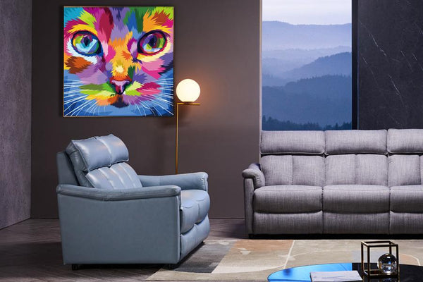Acrylic Painting: Colourful Cool Cat Acrylic Printed Painting Adore Home Living Perth Furniture Store Homewares and Decors