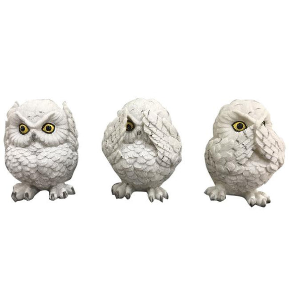 Set of 3 Wise Owls Figurines Resin Ornament Adore Home Living