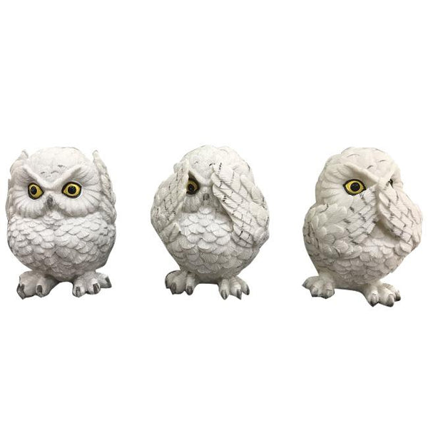 Set of 3 Wise Owls Figurines Resin - Adore Home Living Perth WA