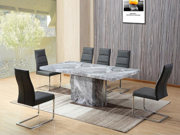 Albert Marble 7 Piece Dining Set Dining Set Adore Home Living