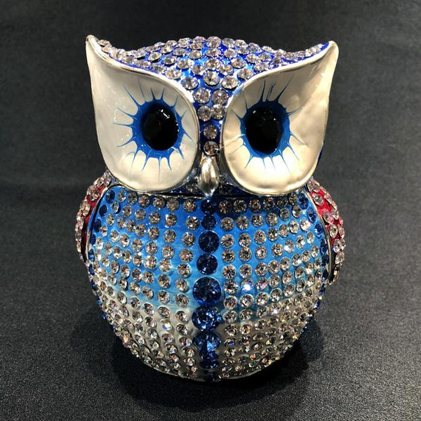 Bling Owl Diamante Ornament Jewellery Box Adore Home Living