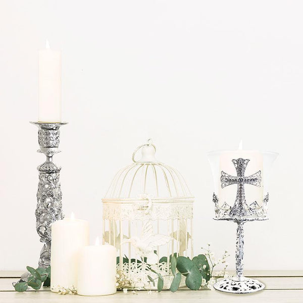 Diamante Pearl Cross Shaped Candle Holders Adore Home Living