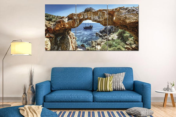 Acrylic Painting Set Of 3: Beach Cove Acrylic Printed Painting Adore Home Living