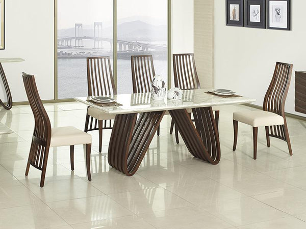 Delta 7 Piece Marble Top Dining Set Dining Set Adore Home Living