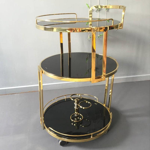 HENNESSY Round Drink Trolley Bar Carts Adore Home Living