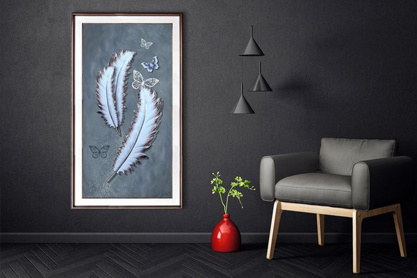Porcelain Painting Feather and Butterflies - Order Only Porcelain Painting Adore Home Living