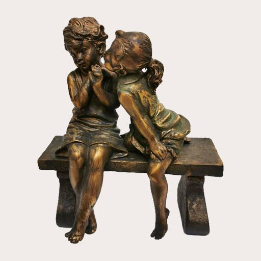 Girl Boy Bench Sculpture Decor Ornament Adore Home Living