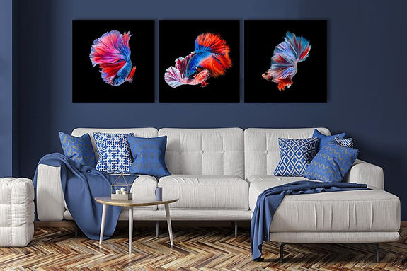 Acrylic painting set of 3 : Gold Fish - Order Only Acrylic Printed Painting Adore Home Living