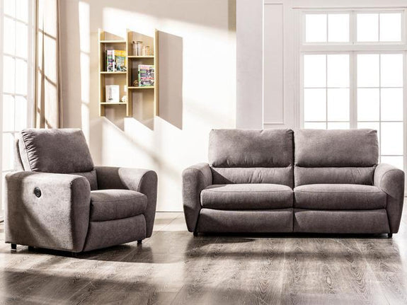 Layla 3 Piece Electric Fabric Recliner Suite Fabric Lounge Adore Home Living