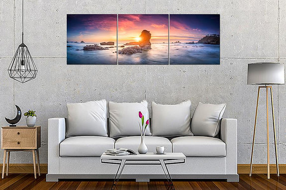 Acrylic Painting Set Of 3: Sunset Beach - Order Only Acrylic Printed Painting Adore Home Living Perth Funriutre Store Homewares Decor