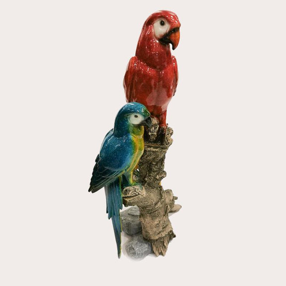 Two King Parrot Sculpture Decor Ornament Adore Home Living