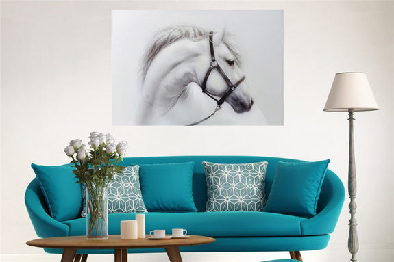 White Horse Acrylic Wall Art 80x120cm Acrylic Printed Painting Adore Home Living