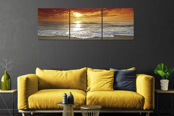 Sunset on the Beach Acrylic Wall Art Set of 3 Acrylic Printed Painting Adore Home Living