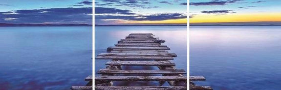 Jetty Sunrise Acrylic Wall Art Set of 3 60x60cm